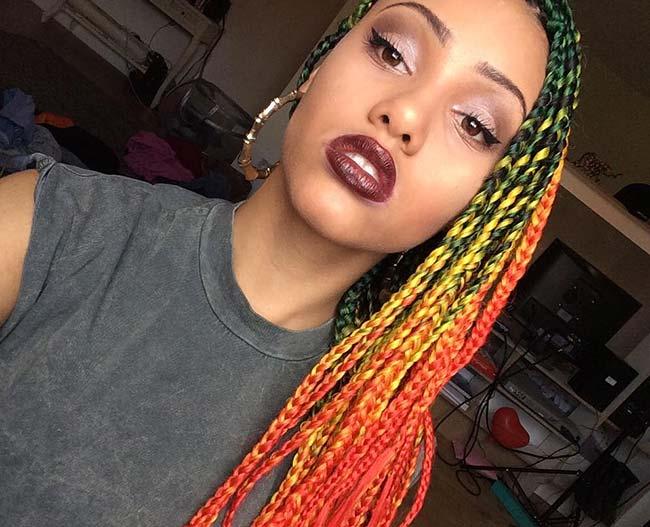 9 Colores Atractivos Para Llevar Con Trenzas Africanas