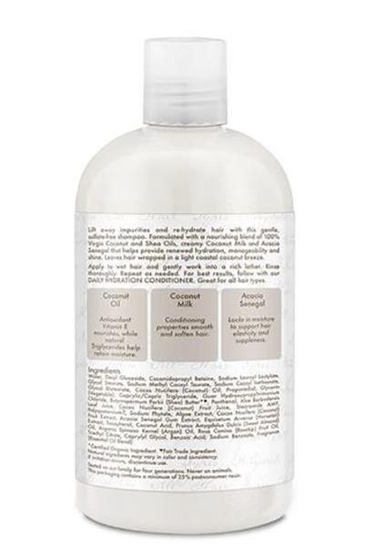 Champú hidratante diario con aceite de coco virgen 100% de 384 ml de Shea Moisture 0